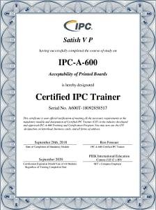 IPC A 600 Certificate