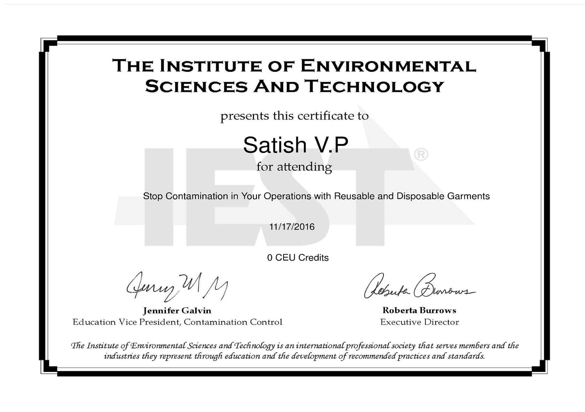 01 Cleanroom IEST Certificate