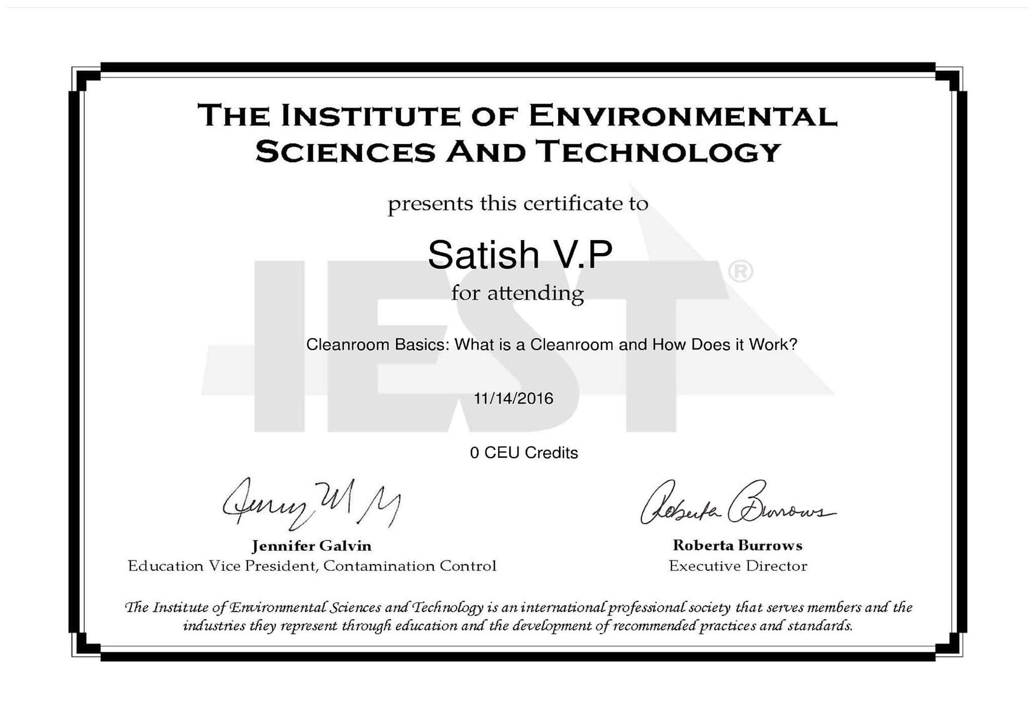 02 Cleanroom IEST Certificate
