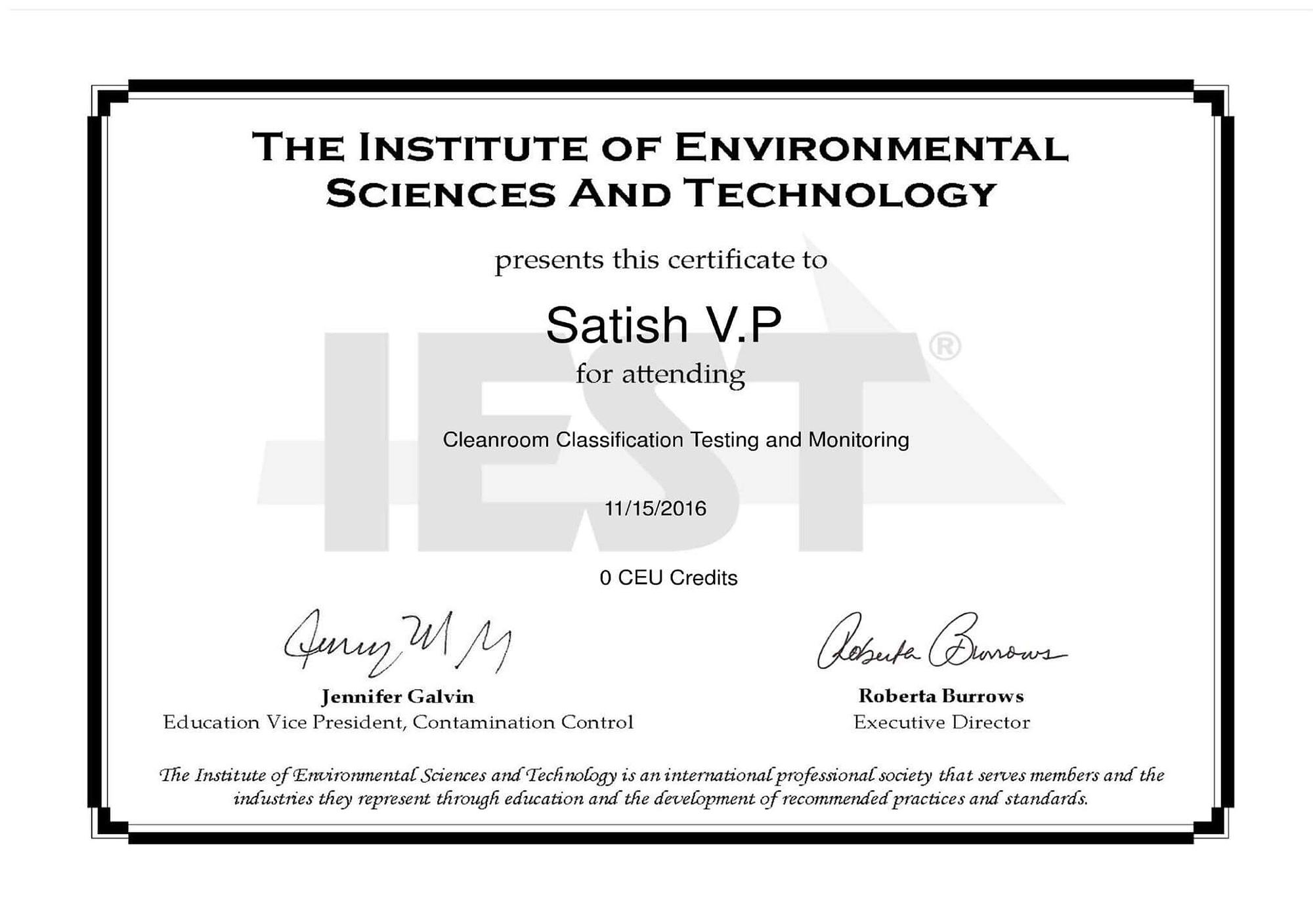 03 Cleanroom IEST Certificate