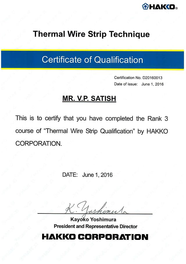 Thermal wire strip Cert